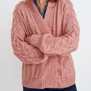 Madewell Cableknit Bubble Sleeve Cardigan Pink M